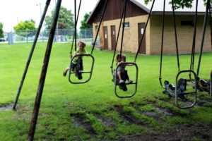 Swinging at the playground